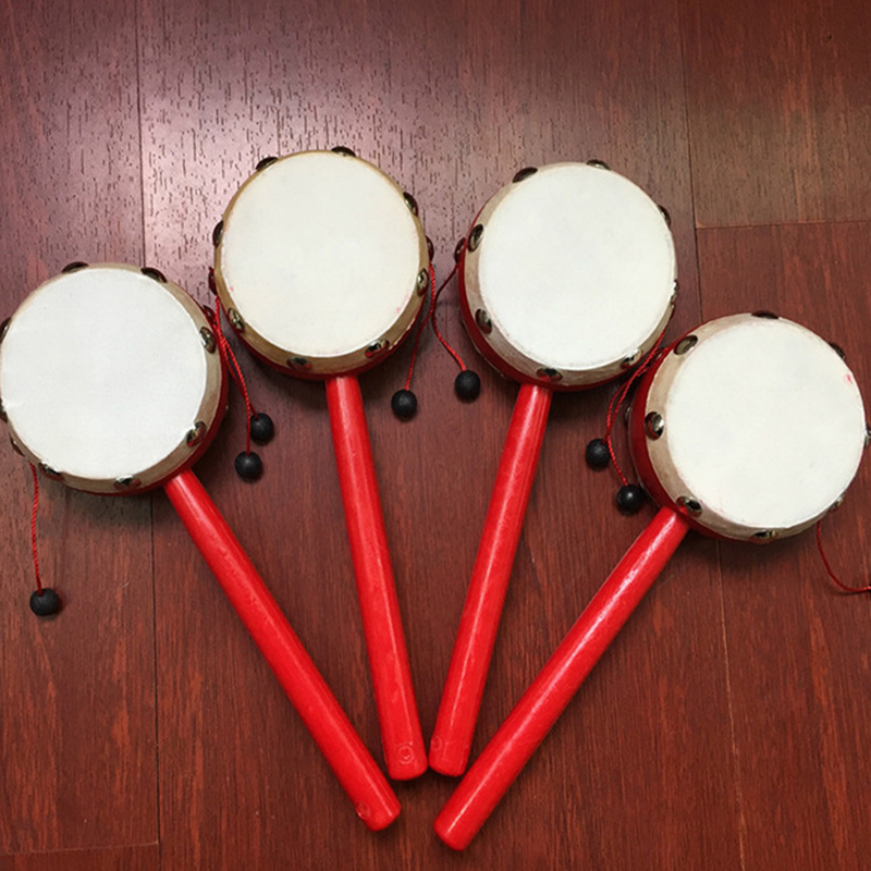 Chinese Traditional Spin Toys Rattle Drum Children Baby Hand Shake Wooden Plastic Musical Toy Gift Sheepskin Rattle Wholesale