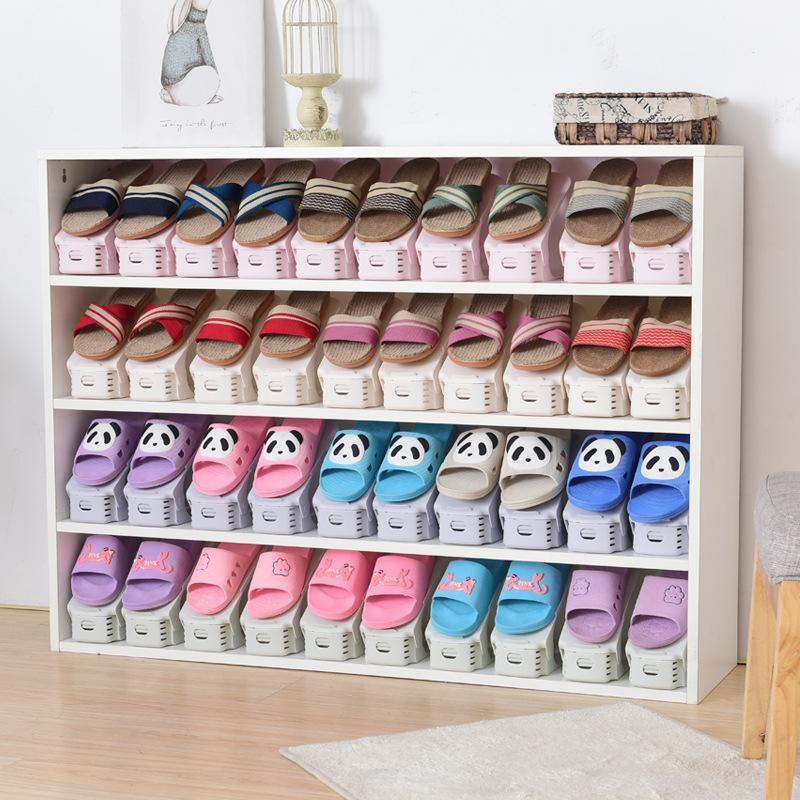 2pcs/lot Shoe Storage Organizer Double Shoe Holder Shoes Organizers Stand Shelf Modern Living Convenient Storage Shoe Rack A30 Elegant In Smell Home Storage & Organization