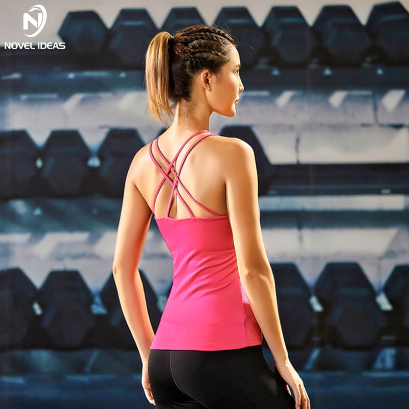 Yoga Shirts Fitness Crop Top Women Cross Back Sports Vest Tops With Padding Bra For Running Gym Fitness Jogging Sportshirt