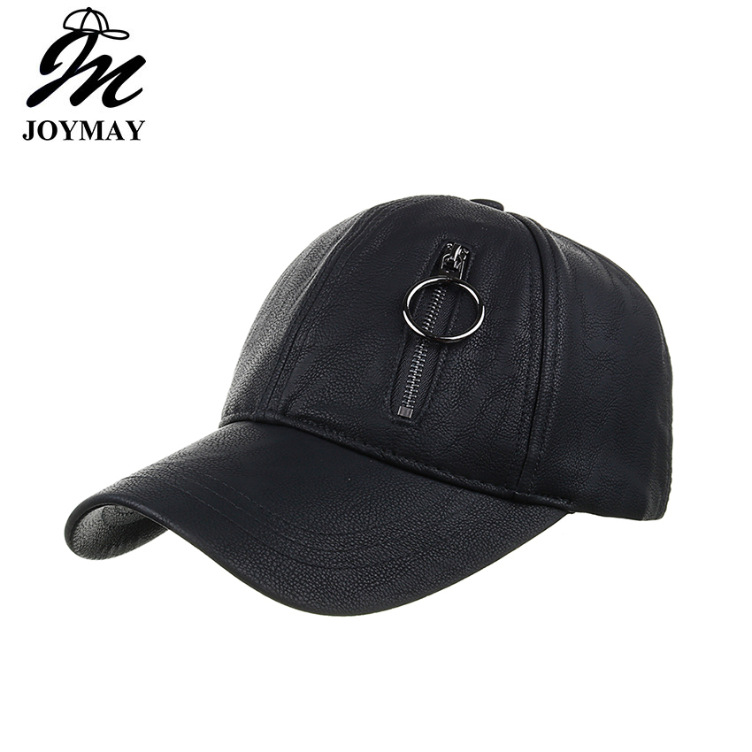 huge discount 4a291 806c7 Joymay New Arrival Winter PU hat with zipper real pocket snapback baseball  cap