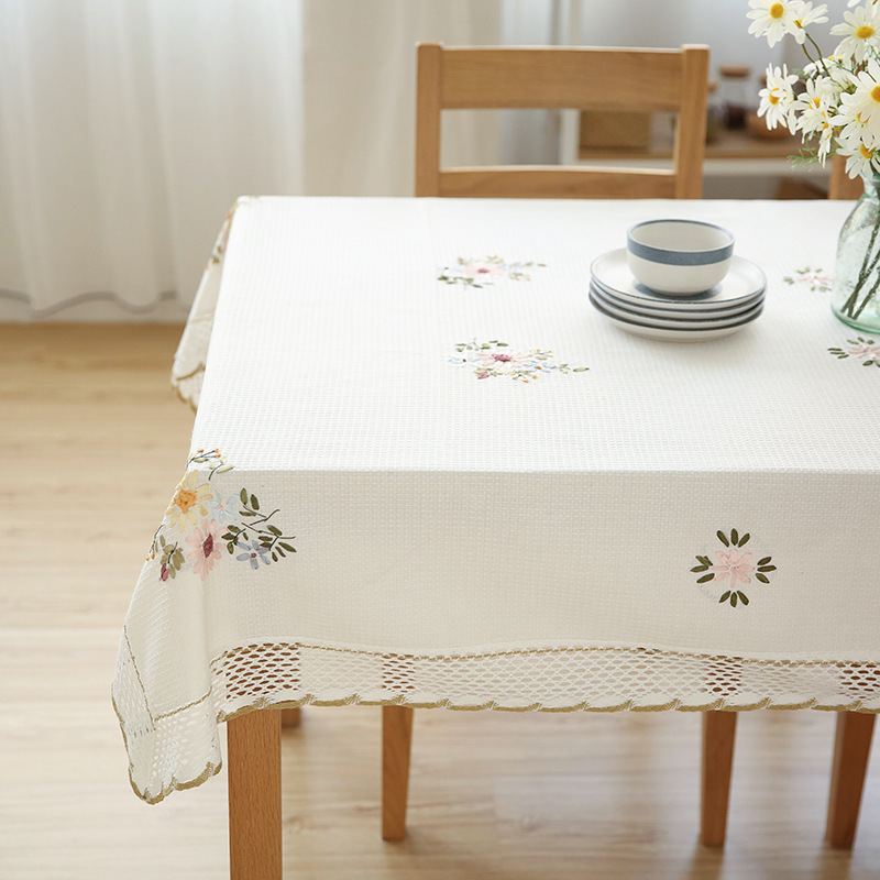 Europe Flowers Tablecloth White Hollow Lace Cotton Linen Dustproof Table cloth 3
