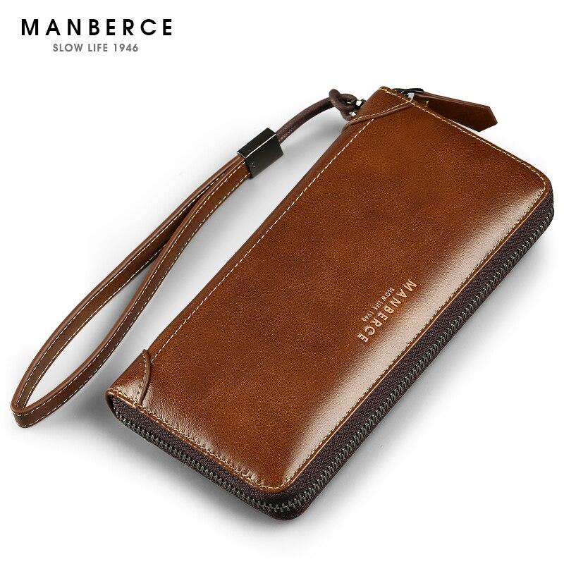 известных брендов MANBERCE мужской клатч кошелёк бумажник портмоне мужское натуральная кожа сумки мужские бизнес повседневная мужские кошель...