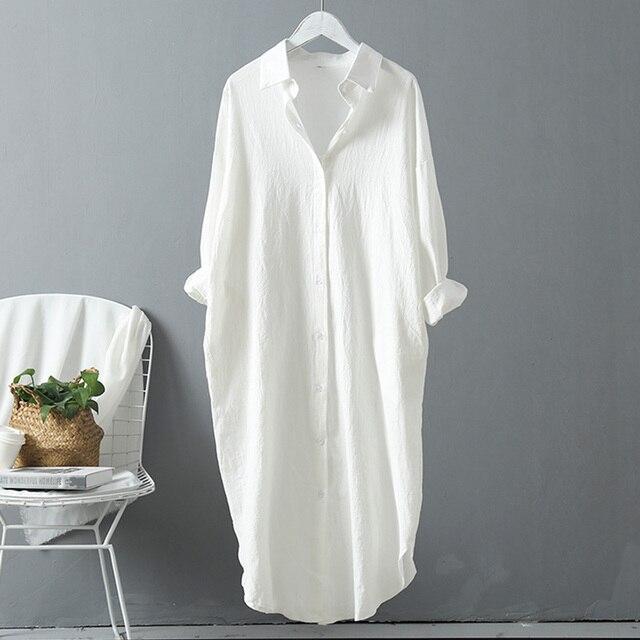 VogorSean Cotton Women Blouse Shirt 2019 Spring Summer Linen Cotton Womans Plus size Long section Casual Tops White/Blue 1
