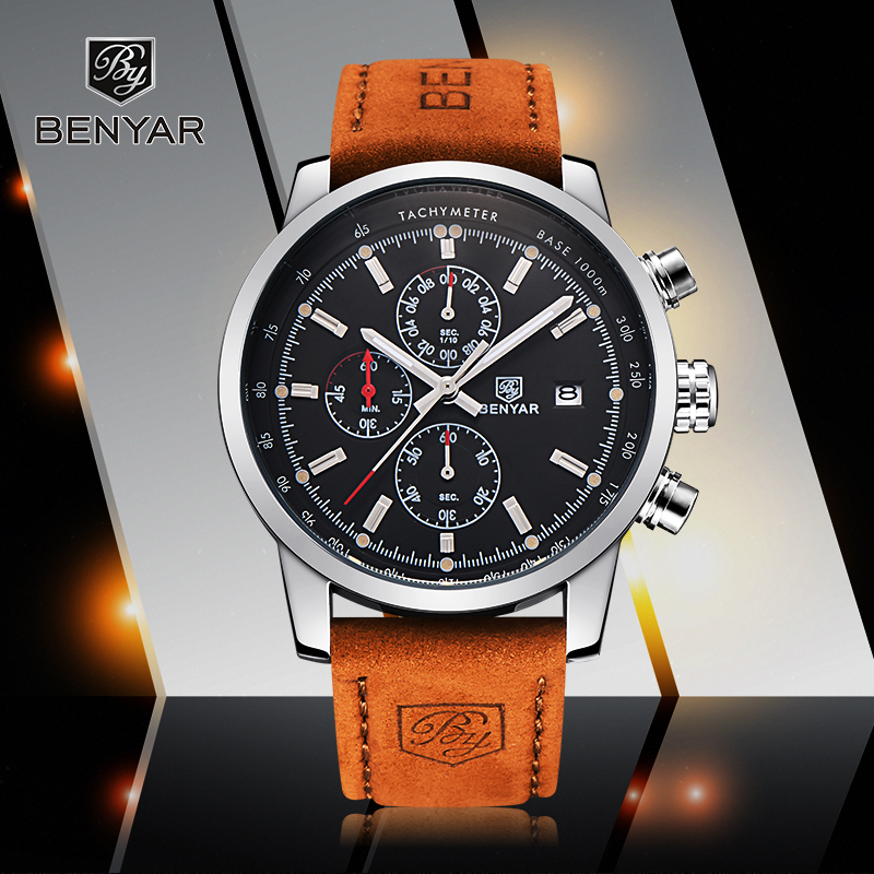 Reloj Hombre 2017 Top Brand Luxury Luxury BENYAR Fashion Chronograph Sport Mens Watches Quartz Ushtarake Orë Relogio Masculino