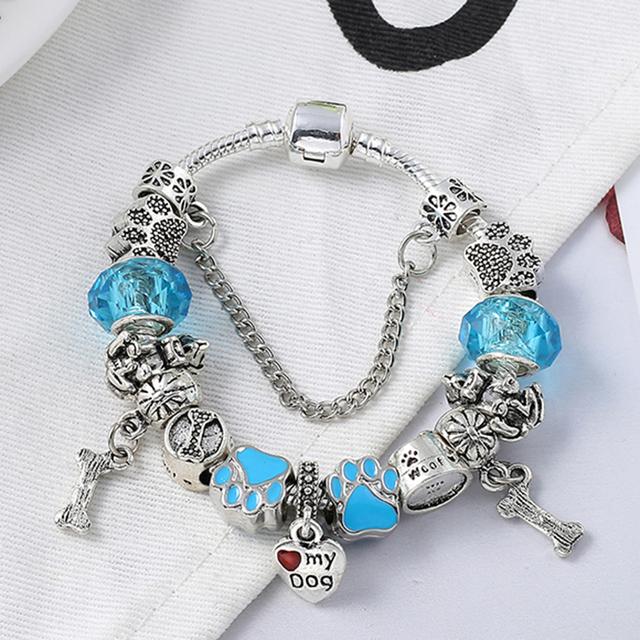 Blue Crystal Dog Bone Beads Charm Bracelets