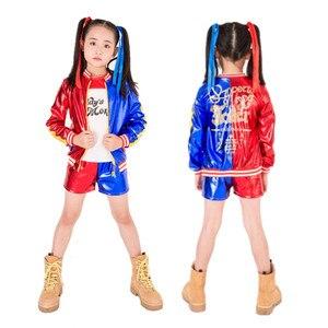 Image 2 - Harley Quinn Costumi Cosplay Per I Bambini Delle Ragazze Purim Vestito Giacca con la Parrucca Di Natale Guanti