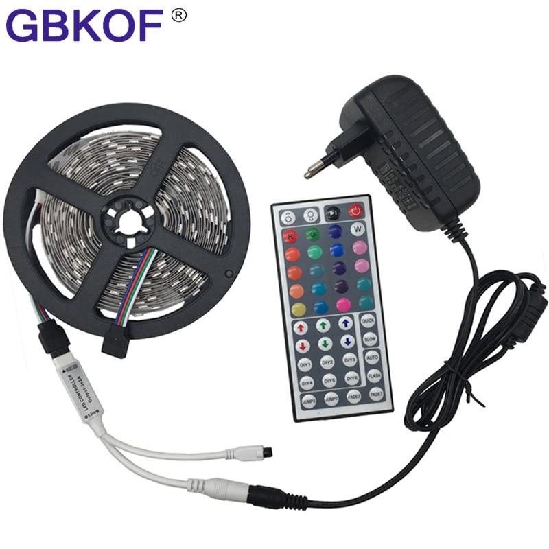 RGB led strip Light 10M 5M 5050 2835 non waterproof led light 10M flexible rgb diode led tape set+Remote Control+DC 12V Power