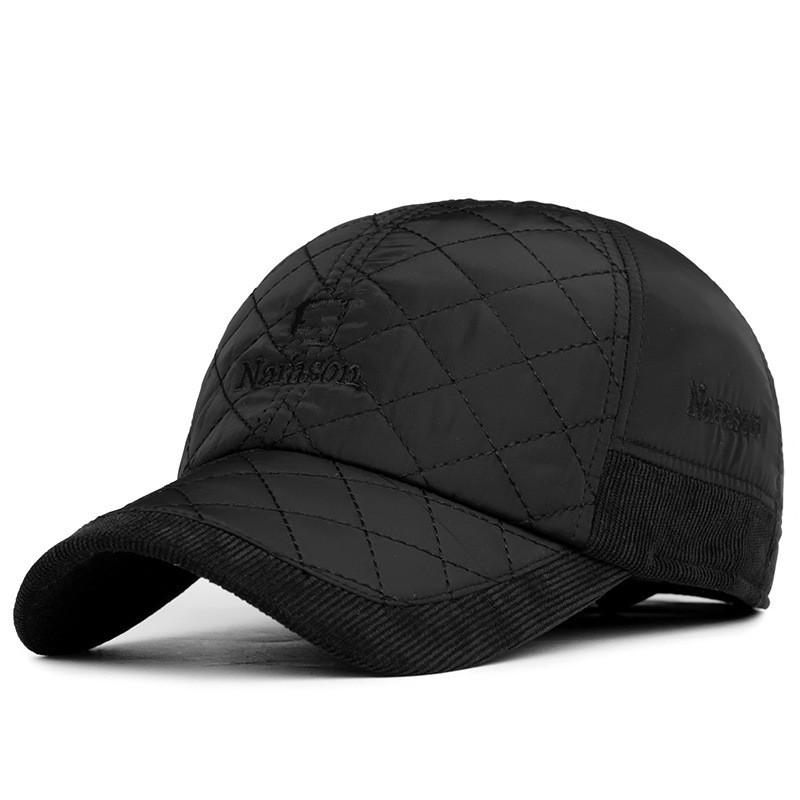 2016-Warm-Winter-Baseball-Cap-Men-Brand-Snapback-Black-Solid-Bone-Baseball-Mens-Winter-Hats-Ear