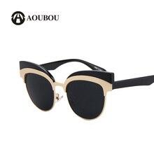 AOUBOU gafas de Sol Mujeres Ceja Wrap Antirreflejos Lentes Azules Patrón de Flores Cateye Vidrio UV400 Gafas De Sol Mujer 6161