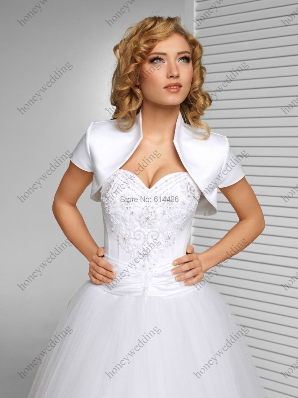 new luxury wedding satin shrug bolero cap sleeve custom made bridal jacketchina mainland