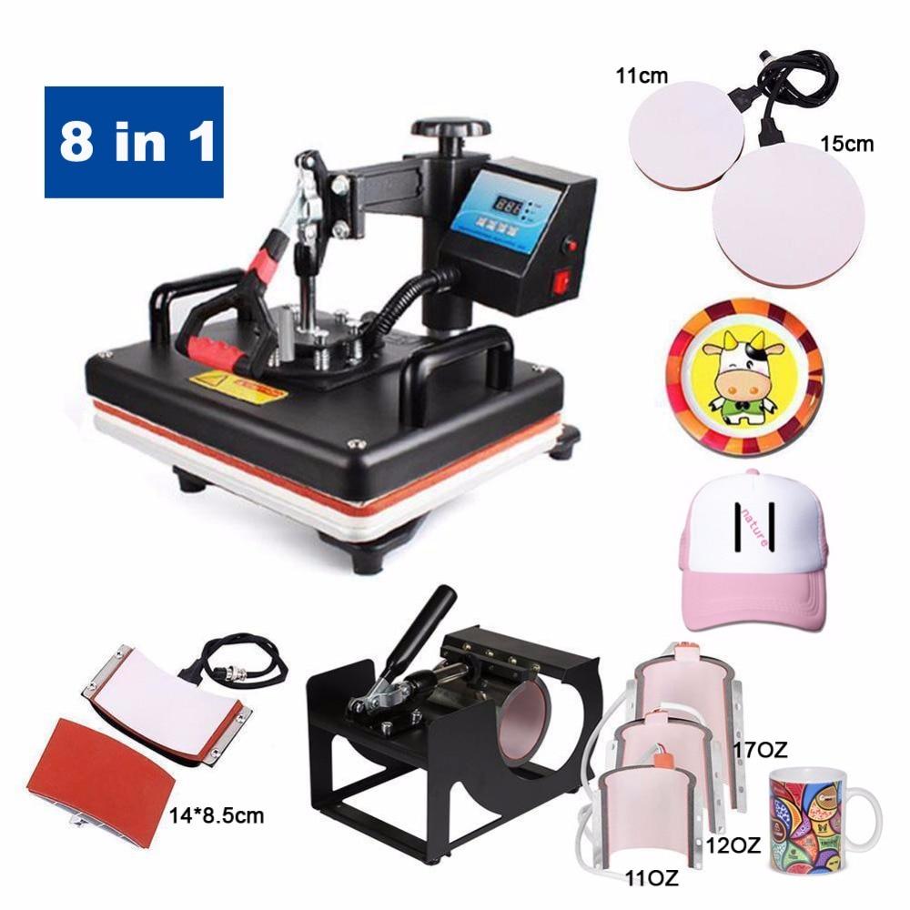 30*38 CM 8 dans 1 Combo presse chauffée Machine Sublimation Imprimante 2D transfert thermique Casquette de Drap Tasse Plaque Machine d'impression de t-shirt