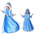 Vestido de la princesa Elsa Deguisement Vestido de Invierno (vestido + capa + de la manga) de Encaje Anna Elsa Cosplay robe reine des neiges 2-7Year