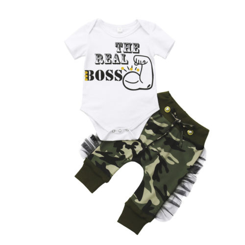 Newborn Kids Baby Boy Bodysuit + Camo Harem Pants Outfits Set Clothes Size 0-24M
