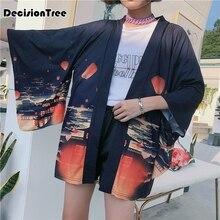2019 kimono cardigan casual half sleeve loose black women japanese plus outerwear
