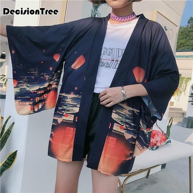 cd8d7b47363 US $15.96 36% OFF|2019 new kimono cardigan casual half sleeve loose black  women japanese kimono plus women outerwear-in Asia & Pacific Islands ...