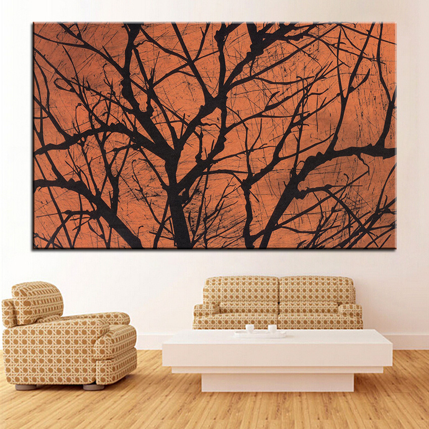 Large Size Printing Oil Painting Halloween Creepy Tree Wall Painting Decor  Wall Art Picture For Living Room Painting No Frame