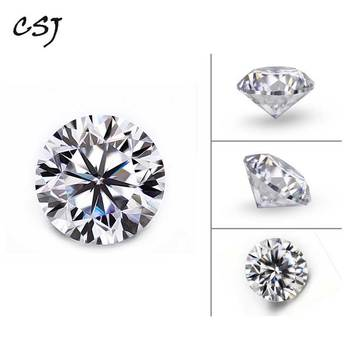 CSJ Round Brilliant Cut Moissanite 0.5 Carat 5mm D Color Moissanite Loose Gemstone Syn. Diamonds Stone High Quality