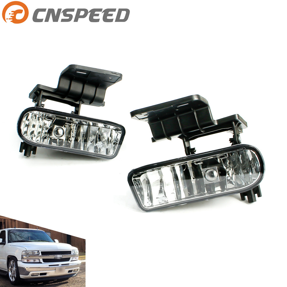 CNSPEED Fog light for Chevrolet CHEVY 99-02 Silverado 00-06 Suburban Tahoe Clear Lens Bumper Fog Lights Driving Lamps YC101000 suburban 94 99 blazer 94 tahoe 95 99 signal marker reflector light upper pair