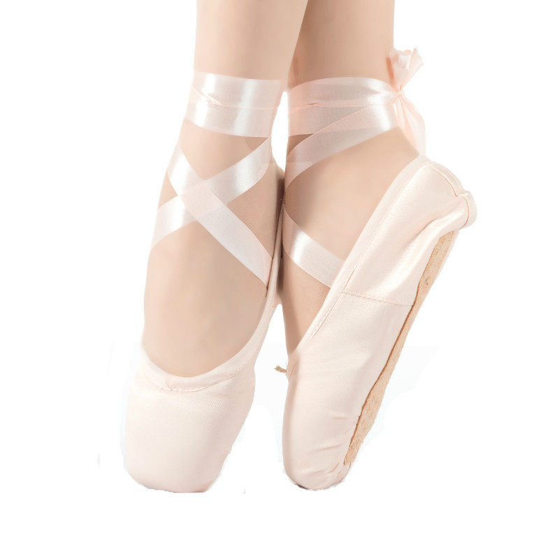 Ballet Pointe Shoes Ribbon Shoe-Dance-Shoes Satin Girls Women Upper Pink with Toe-Pad title=