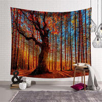 Nodic Forest Tapestry Wall Hanging Carpet Throw Blanket Yoga Mat Bohemian Beach Towel for Home Livingroom Bedroom Decoration