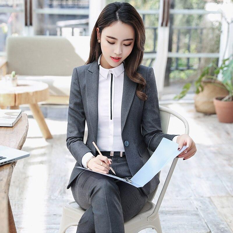 ACRMRAC Women New Spring and autumn suit Long sleeve suit Solid color Slim jacket pants Business OL Formal Dress Suits