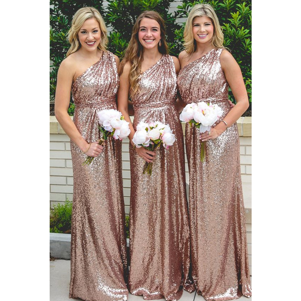 Sparkly Navy Blue Sequins   Bridesmaid     Dresses   2019 One Shoulder Mermaid Floor Length Bling Wedding Party Gowns Custom Made