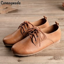 Hot selling,2017 new spring and autumn female leisure shoes Top layer Genuine leather pure handmade RETRO art white shoes