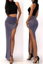 new 2018 novelty Skirt Sexy Women Long Skirts Lady Empire Open Side Split Skirt high waist High Slit Long Maxi Skirts