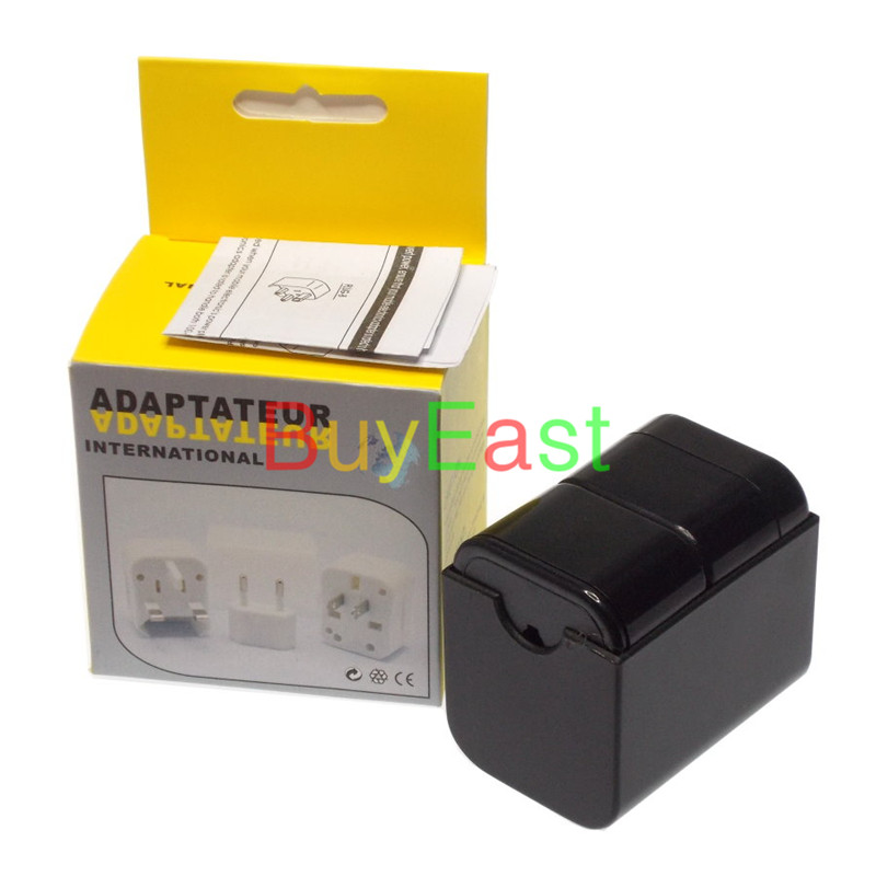 10 PCS World Global All In One Travle Adapter US/EU/GB/AU/China/Japan Universal Power Plug Half cover  Black