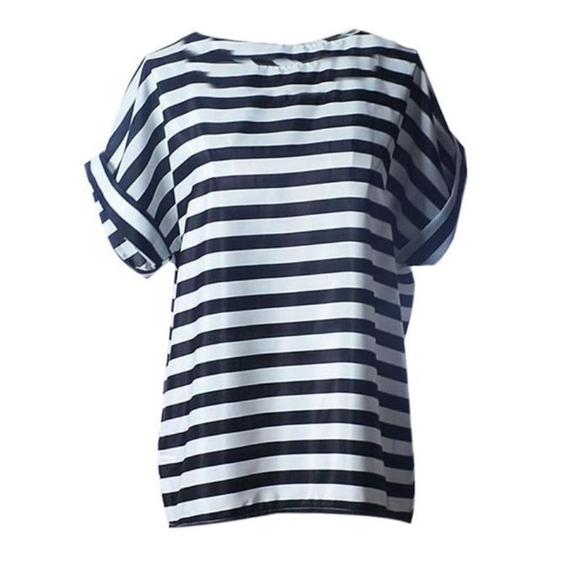 2018 Fashion casual Women stripe T-shirt Women Short Sleeve Casual Flower Print Tropical Chiffon Shirt a25 drop