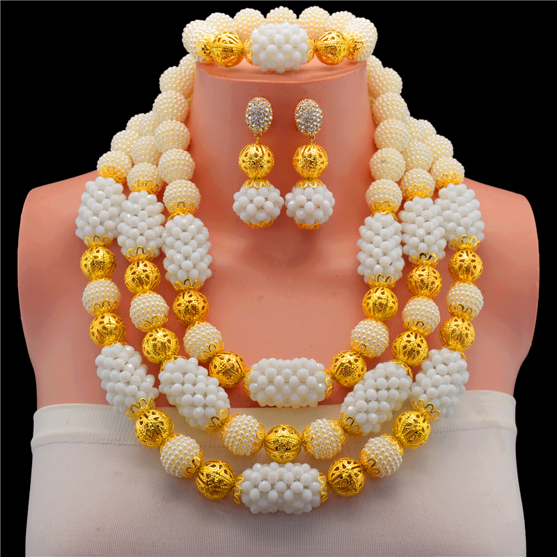 2017 Top Quality White Bridal Gift Nigerian Wedding African Beads Jewelry Set Fashion Dubai Gold-color Jewelry Set Costume