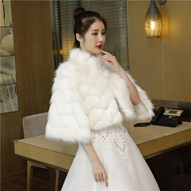7b48989a147 JaneVini 2019 Women Evening Bolero Fux Fur Wedding Wrap Shawl Short Fur  Shrug Cloak High Neck