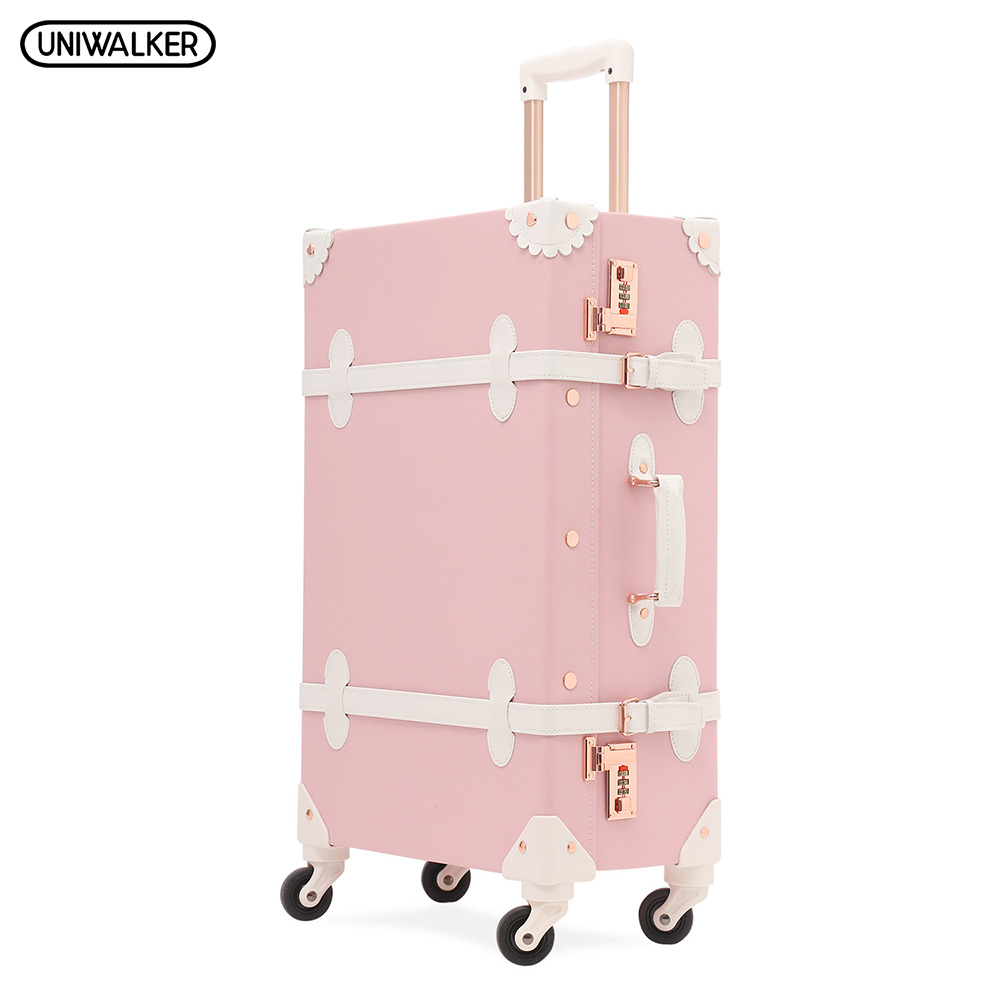UNIWALKER Women Citron Pink PU Leather 20'' 22'' 24'' 26'' Rolling Luggage With Spinner Wheels Retro Suitcase Trolley Bagage uniwalker 2022 24 26 drawbars