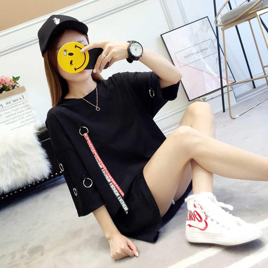 AULEAD ยาวฤดูร้อนเสื้อยืดผู้หญิง PLUS ขนาด O-Neck Ulzzang HARAJUKU Kawaii เกาหลีสไตล์ Streetwear TOP Femme ขนาดใหญ่เสื้อ T