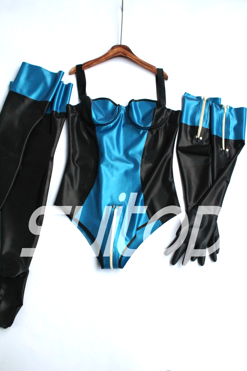 Women 's  latex sets leotard with gloves and stocking in Metallic blue