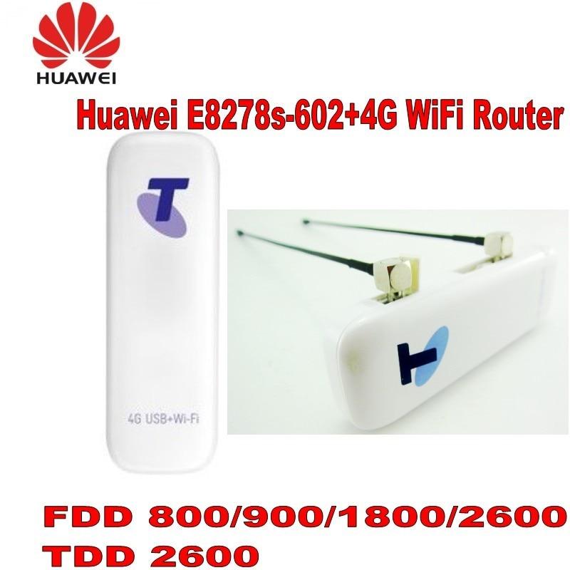Débloqué HUAWEI E8278s-602 FDD800/900/1800/2600 Mhz TDD2600Mhz 4G USB WIFI routeur plus 2 pcs 4g antenne