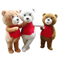 Горячая Распродажа костюм медведя взрослый мех плюшевый мишка Ростовая кукла костюм