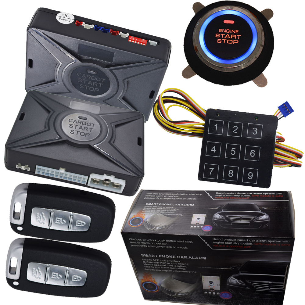 Smart key car security system ignition button start stop alarm keyless entry central lock system rfid emergency unlock car door