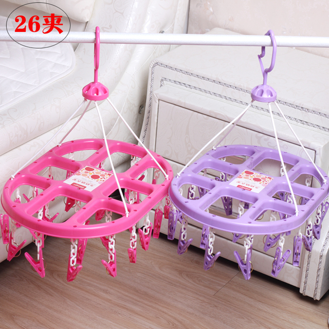 Multi Clip Shaped Plastic Frame Hanging Socks Underwear Rack Disk