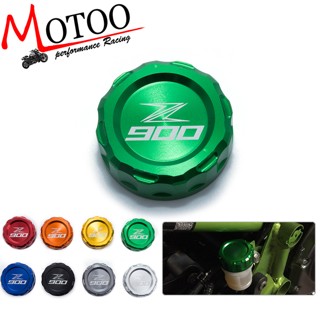 Motoo - Motorcycle CNC Aluminum Rear Brake Fluid Reservoir Cover Cap For Kawasaki Z900 Z 900 with z900 logo