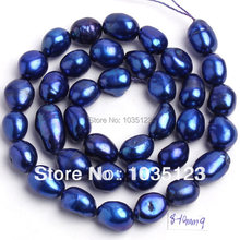High Quality 8-9mm Deep Blue Natural Freshwater Cultured Pearl Freeform Shape Loose Beads Strand 14