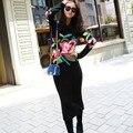 Мода Европейский стиль Высокой темперамент осенью и зимой розы цветочный печати красивый вязание свитера dress for women
