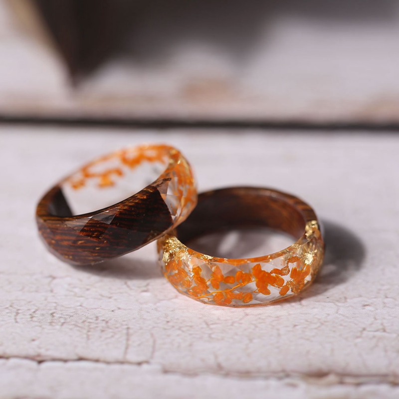 Wood And Yellow Flowers Rings For Women Transparent Epoxy