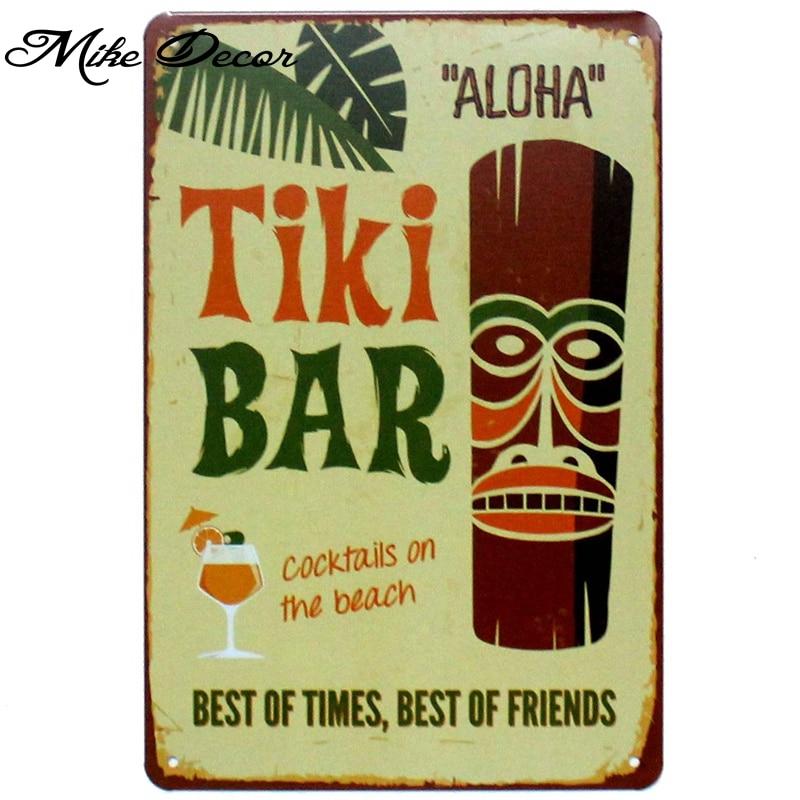[ Mike86 ] TIKI BAR ALOHA Metal Poster Room Decor Retro Wall Craft Tin Sign For Room 20*30 CM Mix Items AA-893