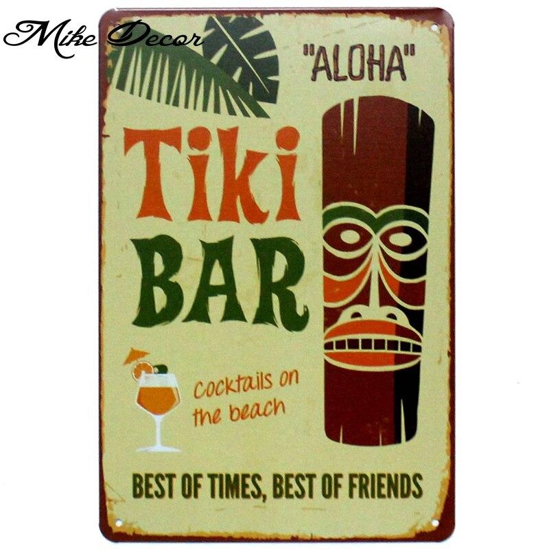 Mike86 TIKI BAR ALOHA Metal Poster Room Decor Retro Wall Craft Tin Sign For
