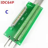 IDC64P male socket to 64P terminal block breakout board adapter PLC Relay terminal station DIN Rail Type