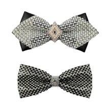 Creative bow tie diamond pearl decor wedding ties for men Gentleman shirt accessories necktie butterfly cravate pour homme