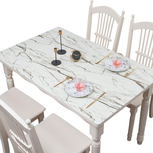 Image 2 - Mantel de mármol de imitación nórdico de vidrio suave PVC impermeable a prueba de aceite para mesa de fiesta de boda almohadilla de Decoración de mesa hecha a medida