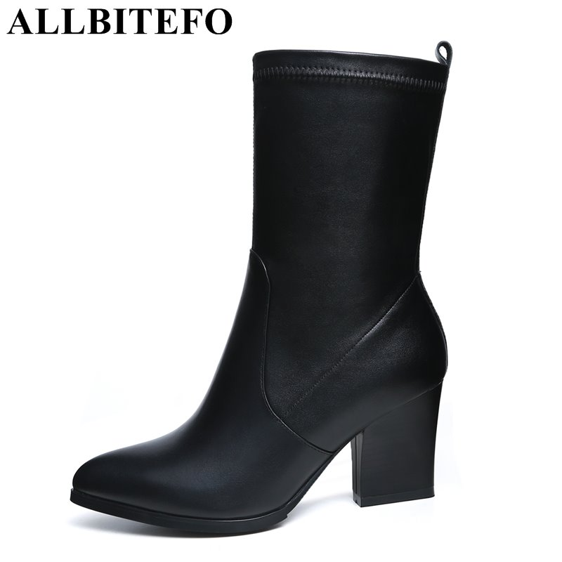 ALLBITEFO genuine leather+Stretch fabric pointed toe thick heel women boots medium heel ankle boots martin boots bota de neve  allbitefo genuine leather pointed toe thick heel women boots fashion buckle medium heel martin boots ankle boots for woman