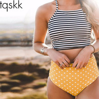 TQSKK 2017 Sexy Bikini Stripe Women High Waist Swimsuit Female Bandage Swimwear Cross Bikini Set Summer